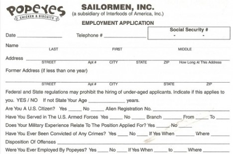 Popeyes Job Application Apply Today